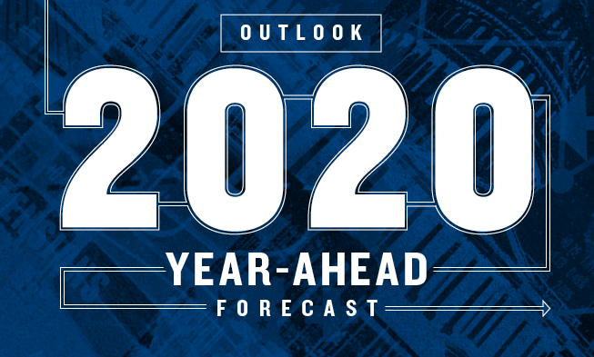 HED text reads: Outlook 2020 Year-Ahead Forecast. Image is a transparent photo of a government building.