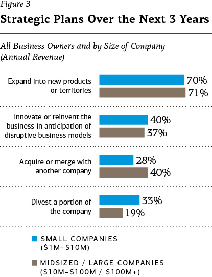 Figure 3 – Strategic plans over the next 3 years, all business owners and by size of company. Expand into new products or territories: 70% small, 71% midsized/large. Innovate or reinvent the business in anticipation of disruptive business models: 40% small, 37% midsized/large. Acquire or merge with another company: 28% small, 40% midsized/large. Divest a portion of the company: 33% small, 19% midsized/large.