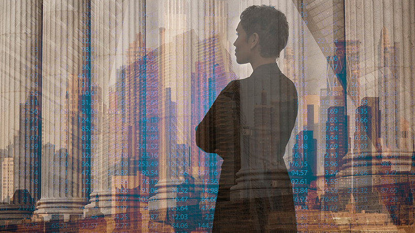 Woman looking at a cityscape