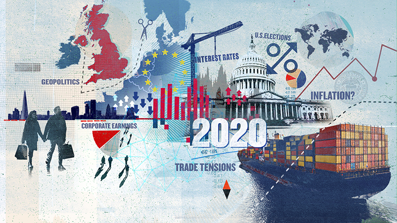 The illustration depicts the major themes the Chief Investment Office believes will be prominent in the year ahead. The illustration is a collage of images of cityscapes, the U.S. Capitol Building, bar graphs, pie charts, line graphs, arrows, coins, stars, people, a map of Britain and Europe, a cargo ship, and a globe. It also has the year, 2020, and words such as geopolitics, corporate earnings, trade tensions, interest rates, U.S. elections, and inflation to highlight the various themes.