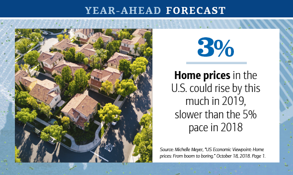 Graphic showing an overhead photo of a suburban neighborhood and explaining that U.S. home prices could rise by 3% in 2019