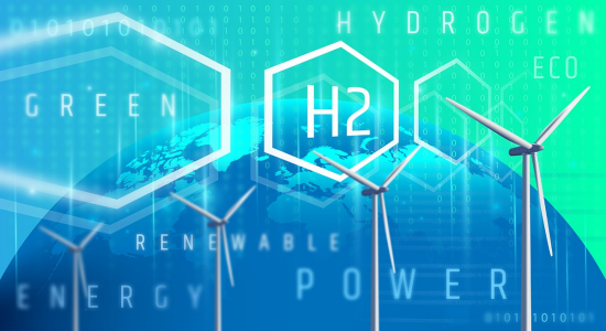 "Hydrogen atoms juxtaposed over an image of the Earth, with windmills in the foreground. The text ""HYDROGEN,"" ""ECO,"" ""H2,"" ""POWER,"" and part of the word, ""RENEWABLE"" overlay the graphic."