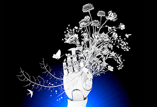 Rrobotic hand and flowers image