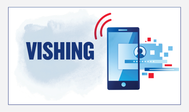 On the left, the header text reads: Vishing. On the right there is an illustration of a smartphone with the antenna signal and a contact icon floating beside it in a cloud of squares, representing an incoming call.