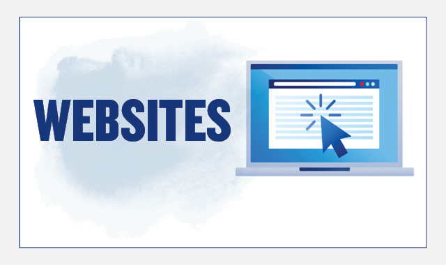 On the left, the header text reads: Websites. On the right there is an illustration of a laptop. A website page is open, and a mouse cursor is clicking on the site.