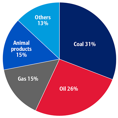 Exhibit 2 - Global Greenhouse Gas Emissions Dominated By Coal, Oil, Gas, Animal Products