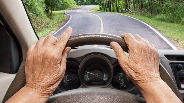 Elderly woman driving a car