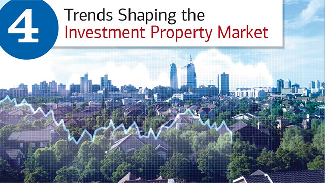 "Title slide, with hed, ""4 Trends Shaping the Investment Property Market"" and skyline view of the suburbs merging with the city. There is a light grid over the entire image and light blue fever graph line over several of the suburban homes in the foreground – to indicate trends."
