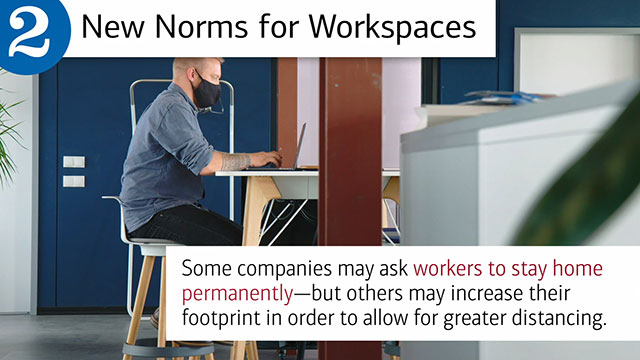 "Slide two, with hed, ""New Norms for Workspaces"" and text, ""Some companies may ask workers to stay home permanently – but others may increase their footprint in order to allot for greater distancing."" Image is of a man sitting at a desk on his laptop."