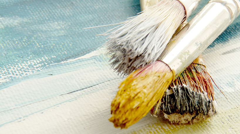 Paintbrushes on a canvas