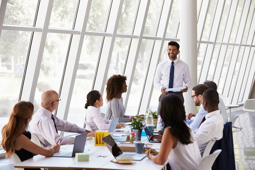 Businessman Leading Meeting At Boardroom Table
