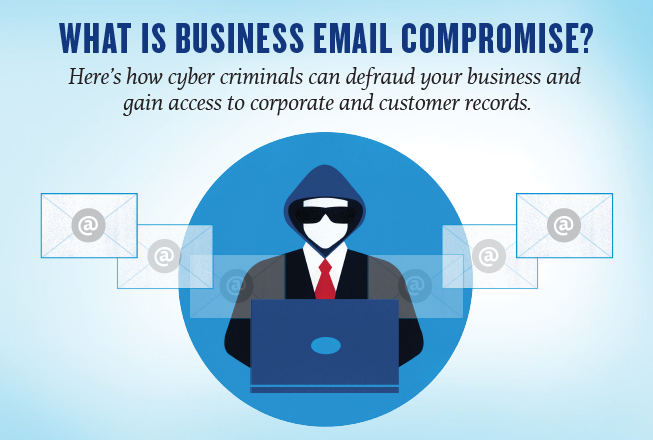 What is business email compromise? Here's how cyber criminals can defraud your business and gain access to corporate and customer records. Illustration of a man wearing a suit, glasses and a hood sitting at a computer, and emails flying out of it.