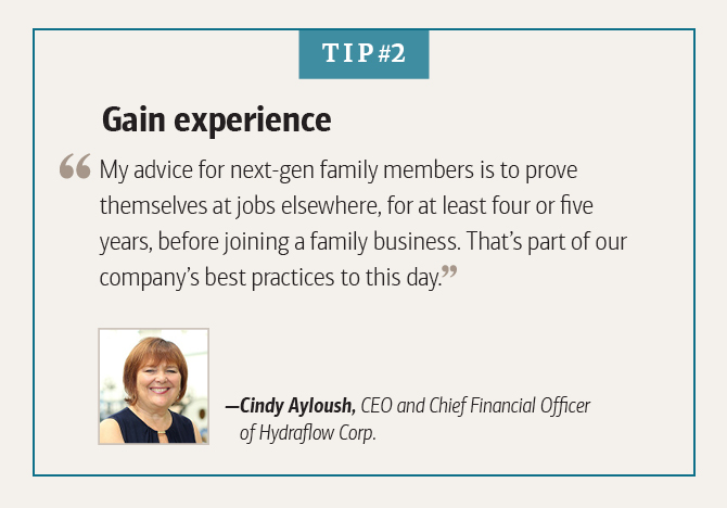 Cindy Ayloush, CEO and Chief Financial Officer of Hydraflow Corp., on gaining workplace experience