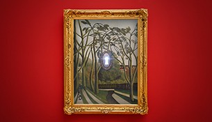 Graphic of an ornate gold frame on a red background. The painting inside of the frame is of a landscape with several walking paths, a gate, and tall trees. In the middle of the painting is a lock, with the hole shining bright, as if there's a light on the other side peeking through. Below the frame is a golden key with a golden dollar sign as the bit