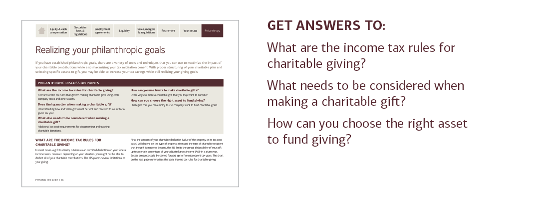 GET ANSWERS TO:  What are the income tax rules for charitable giving?  What needs to be considered when making a charitable gift?  How can you choose the right asset to fund giving?  For answers to these questions and more, please contact your U.S. Trust advisor or contact your local U.S. Trust office and request the Personal CFO Guide.